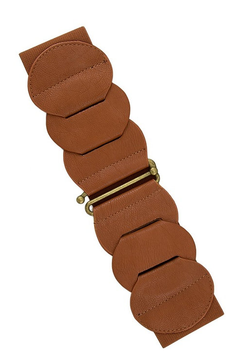 Linked Faux Leather With Metallic Hook Belt - Camel (Preorder)