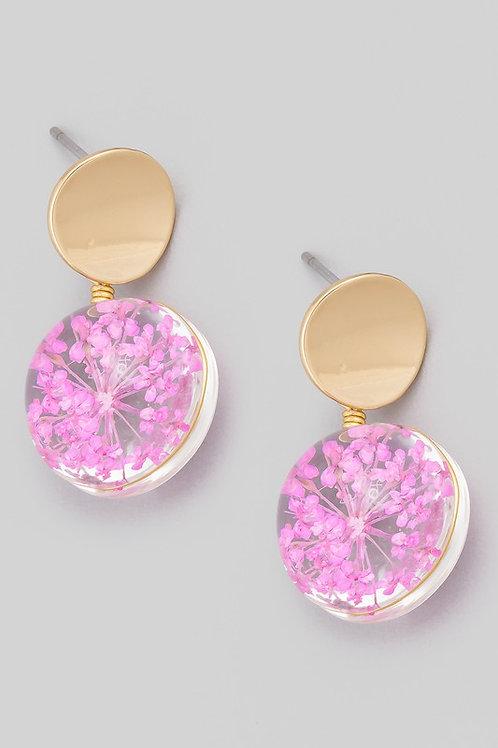 Circle 3D Flower Drop Earrings