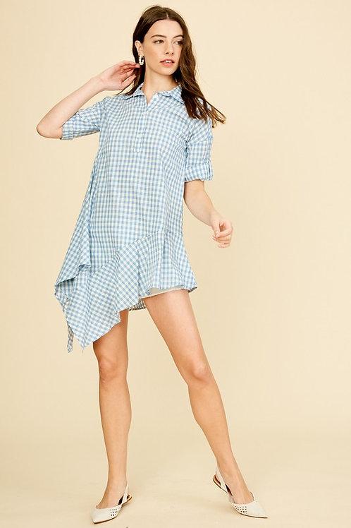 Short Sleeve Gingham Ruffle Detail Shirt Dress