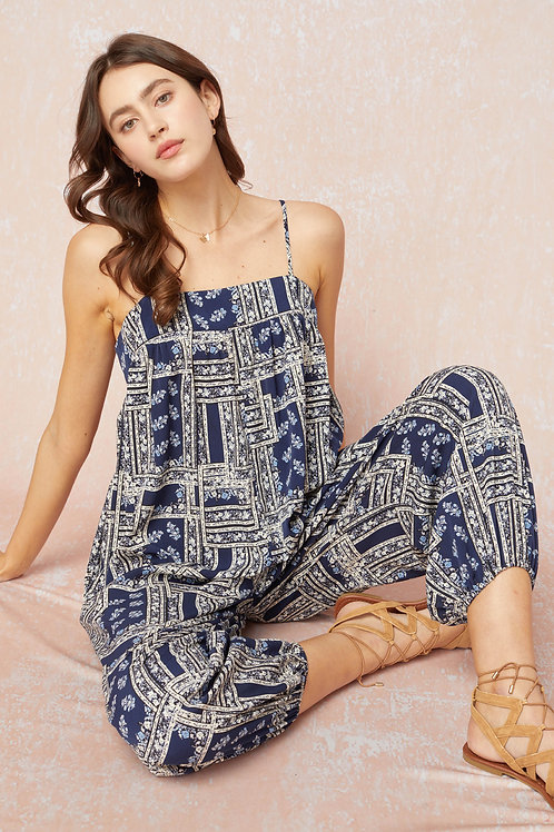 Print Square Neckline Loose Fit Jumpsuit with Side Pockets
