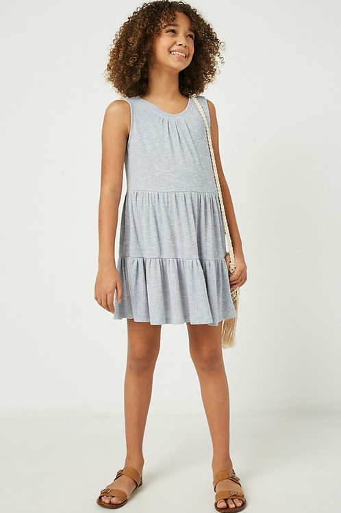 Sleeveless Tiered Ribbed Dress