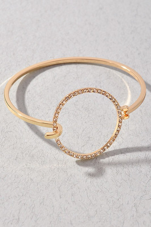 Rhinestone Circle Clasp Bracelet