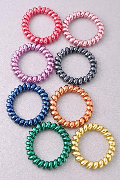 Multi-color Metallic Coil Hair Bands