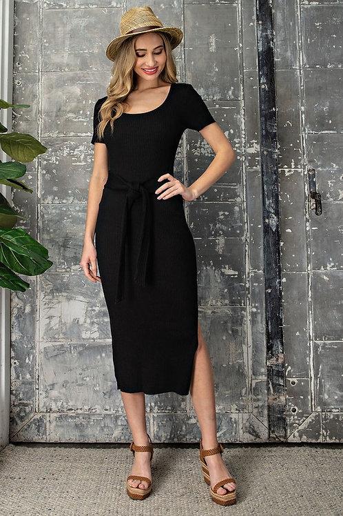 Scoop Neck Short Sleeve Belted Side Slit Ribbed Midi Dress