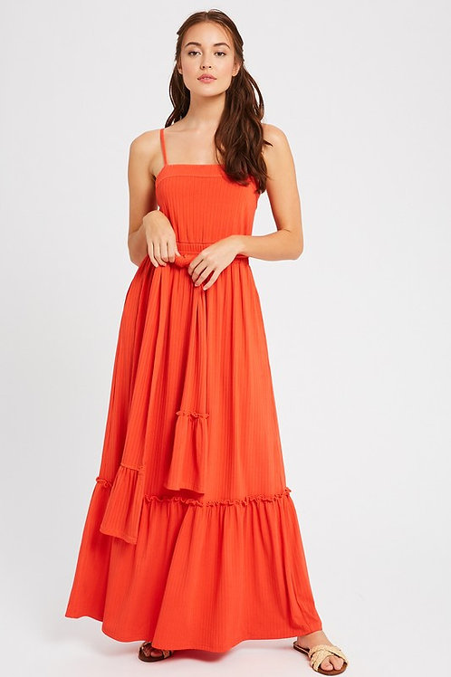 Ribbed Square Neck Belted Maxi Dress