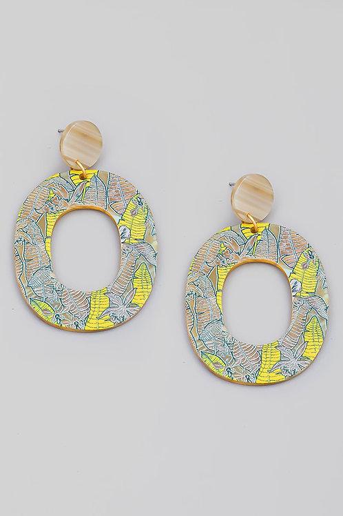 Oval Leaf Print Drop Earrings