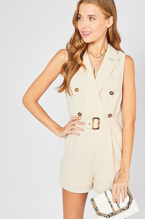 Sleeveless Double Breasted Collar Detail Belted Romper