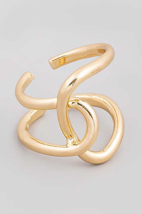 Adjustable Gold Intertwined Ring (Preorder)