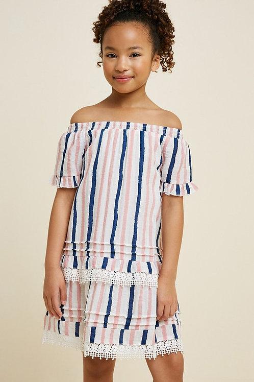 Off The Shoulder Stripe Layered Dress