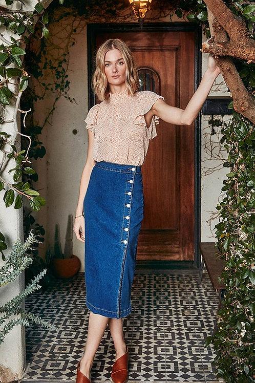 Denim Button Down Pencil Skirt