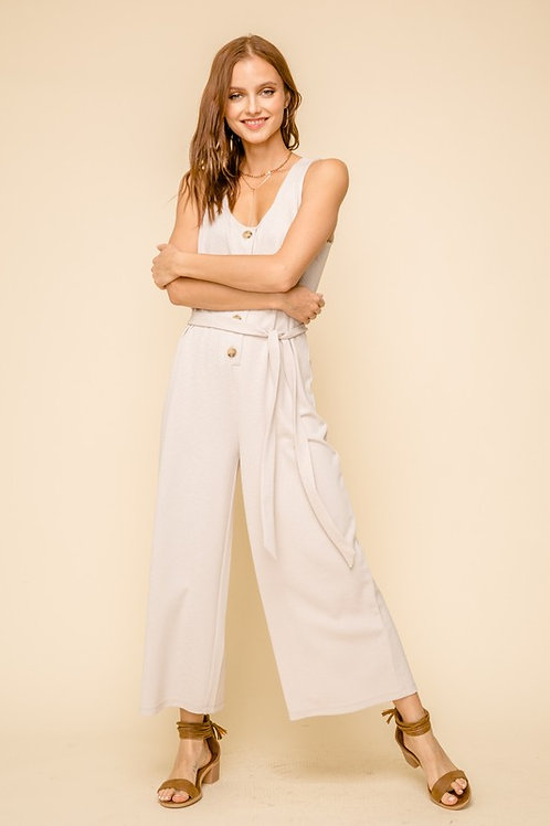 Sleeveless Loose Fit Belted Button Down Jumpsuit