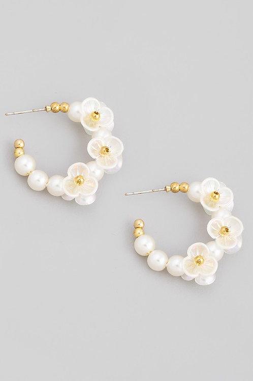 Flower Pearl Hoop Earrings