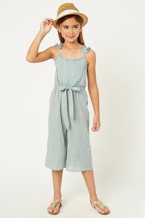 Pleated Strap Textured Cotton Midi Belted Jumpsuit