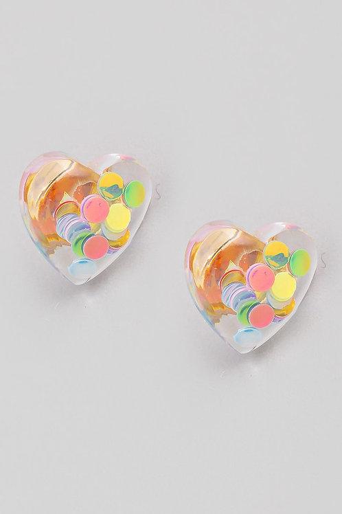Clear Multi-Colour Dot Heart Stud Earrings