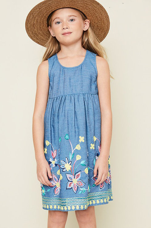 Sleeveless Denim Floral Embroidered Dress