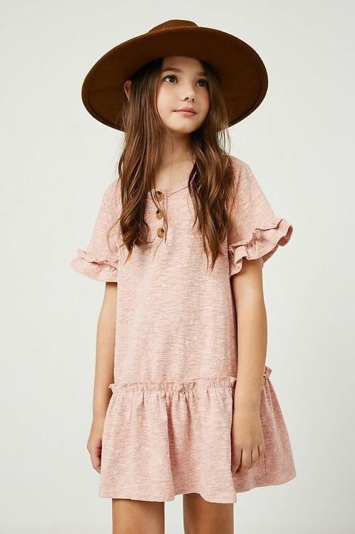 Short Sleeve Ruffle Sleeve & Hem Dress