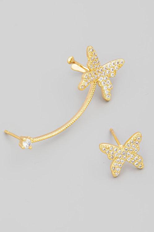 Pave Butterfly Cuff Earrings