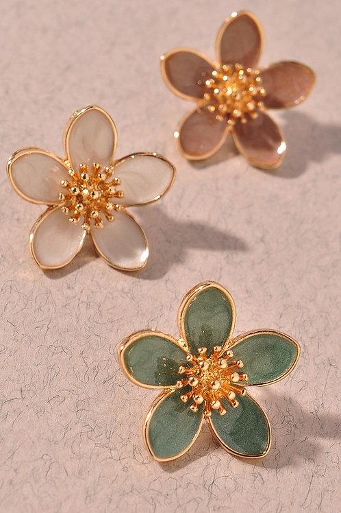 Flower Gold Center Stud Earrings - Mint