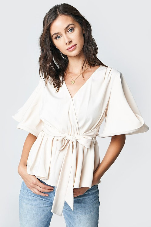 Flare Sleeve Belted Wrap Top