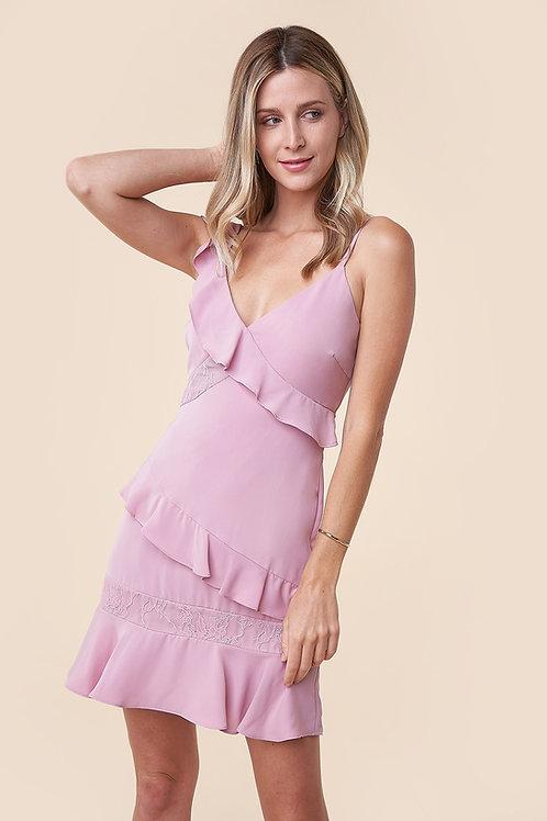 Ruffle Lace Detail Asymmetric Dress