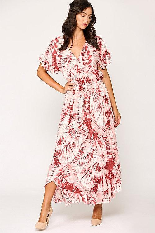 Short  Ruffle Sleeve Tie Dye Maxi Dress
