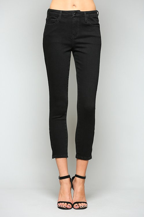 Mid Rise Crop Skinny Jeans With Side Zipper
