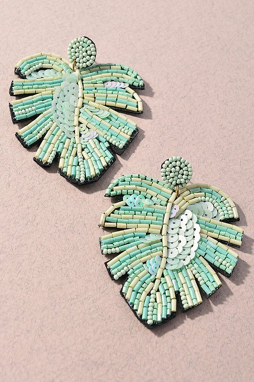 Mint Beaded Leaf Earrings