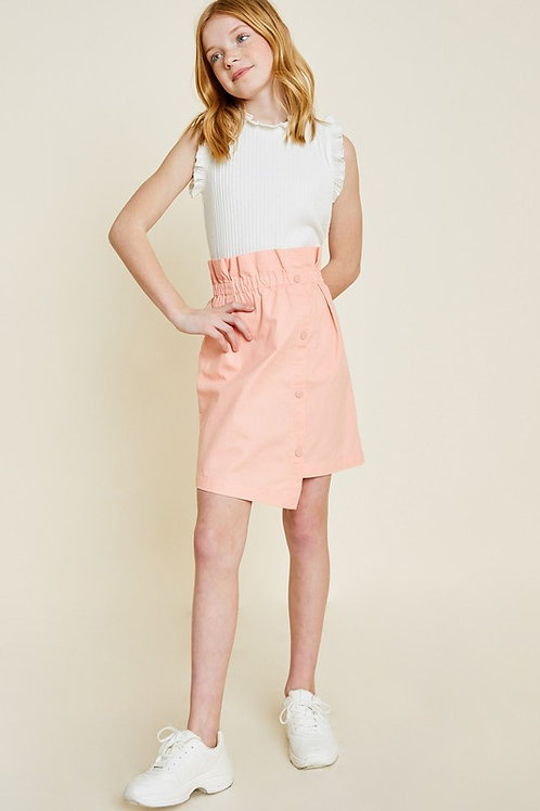 Asymmetric Button Detail Paperbag Skirt