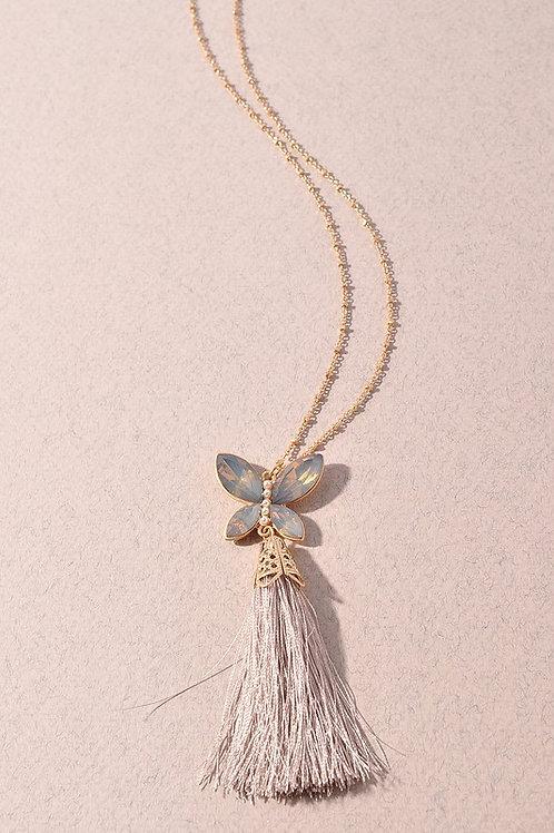 Tassel Crystal Butterfly Pendant Necklace