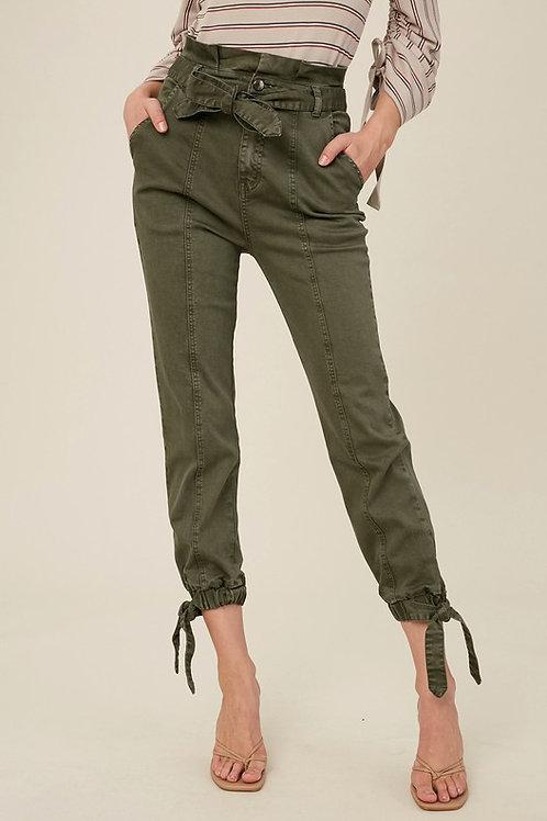 Tie Ankle Paper Bag Pants