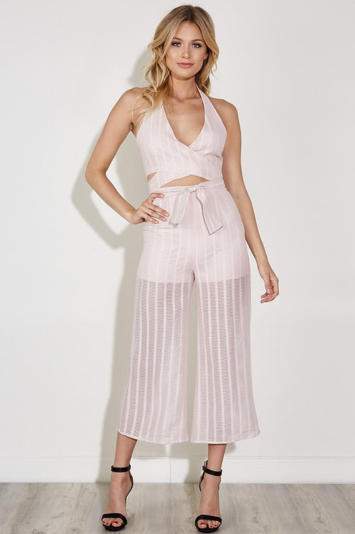 Two Piece Wrap Halter with Midi Pants