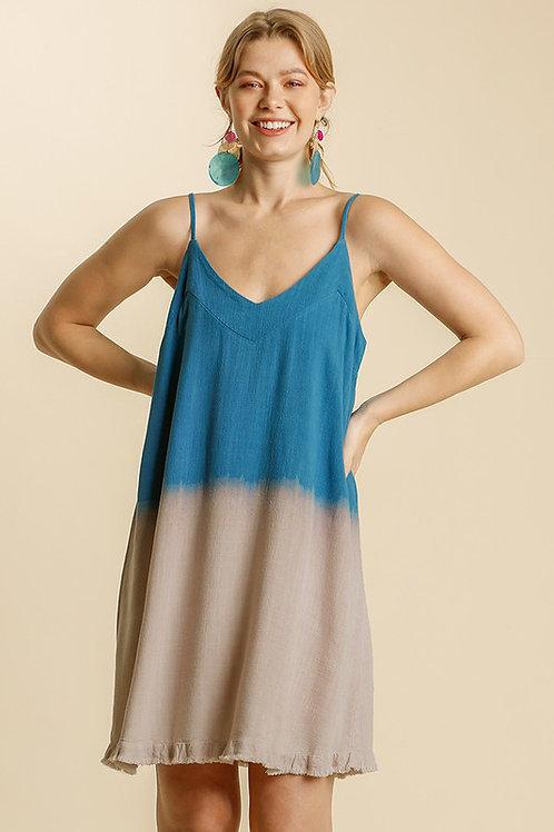 Spaghetti Strap Dip Dye Linen Cotton Dress