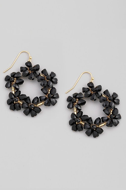 Floral Bead Circle Drop Earrings  - Black