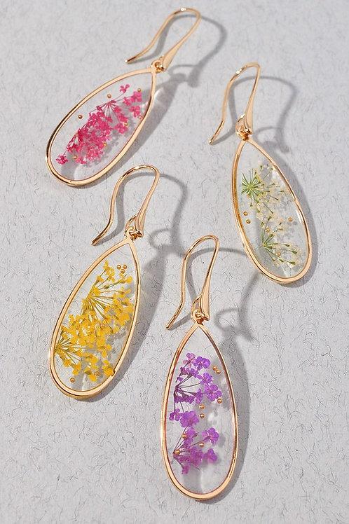 Clear Teardrop Lucite 3D Flower Drop Earrings - Purple