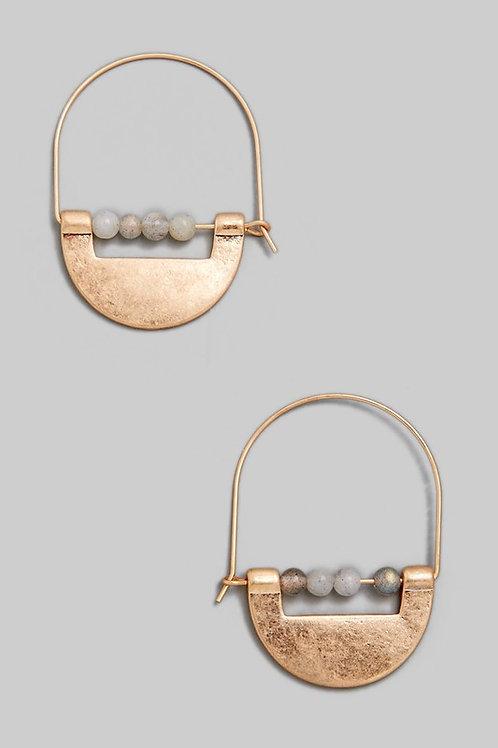 Antique Gold Bead Detail Hoop Earrings