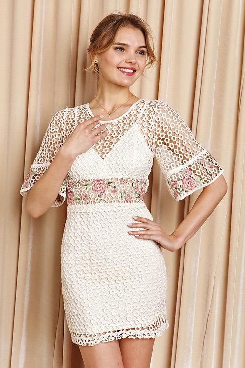Floral Cut Out Detail Short Sleeve Dress