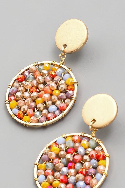 Multi-colour Beaded Circle Drop Earrings (Preorder)