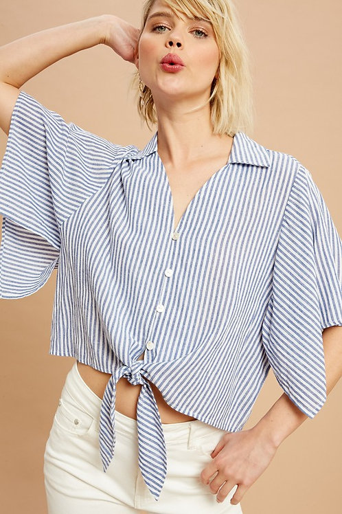 Butterfly Sleeve Striped Tie Front Button Down Top