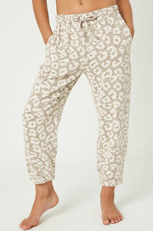 Leopard Print Cotton Jogger Pants