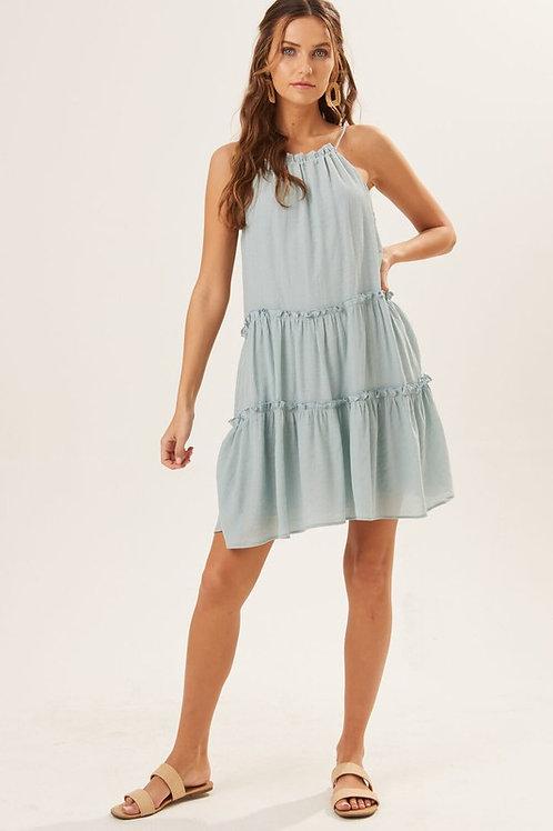 Halter Neckline Tiered Mini Dress