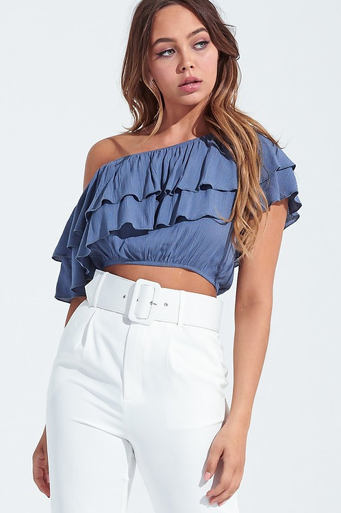 Denim Effect Off the Shoulder Layered Ruffle Top