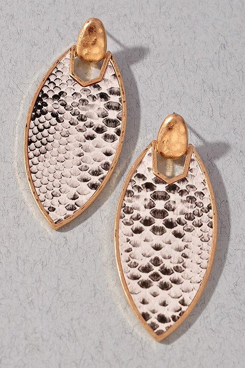 Tear Drop Snake Print Earrings