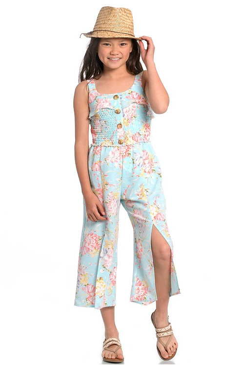Floral Button Front Midi Jumpsuit With Front Slits - Light Blue (Preorder)