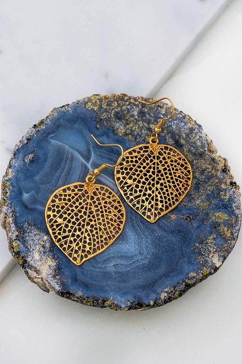 Filigree Leaf Drop Earrings