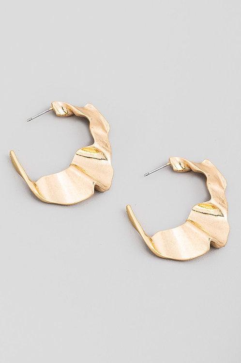 Gold Textured Wavy Hoop Earrings