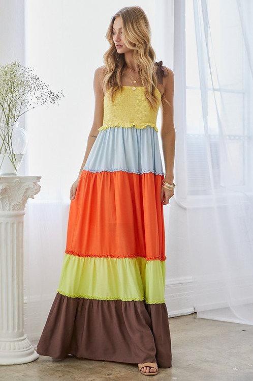 Colour Block Tie Strap Tiered Maxi Dress