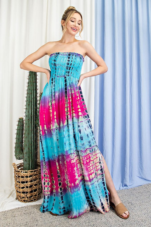Strapless Smocked Tie Dye Maxi Dress With Side Slit