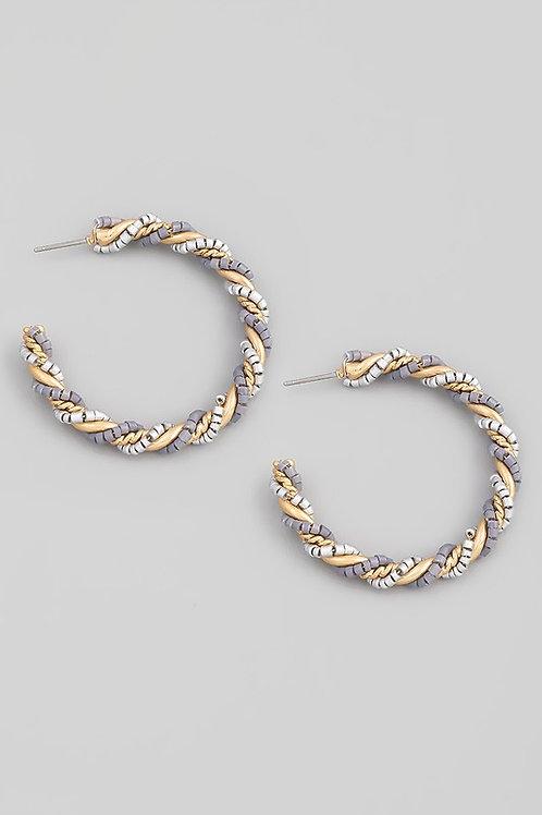 Grey Multi-colour Bead Twist Hoop Earrings