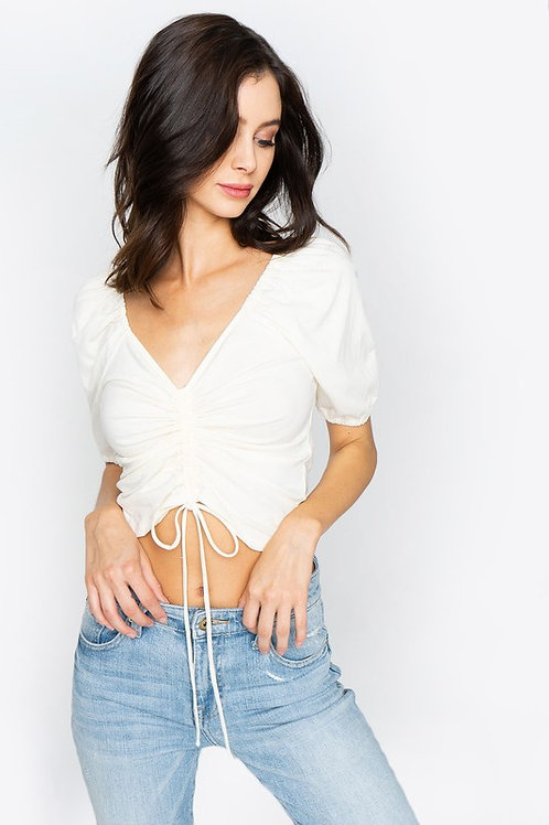 Short Sleeve Ruched Laced Up CropTop