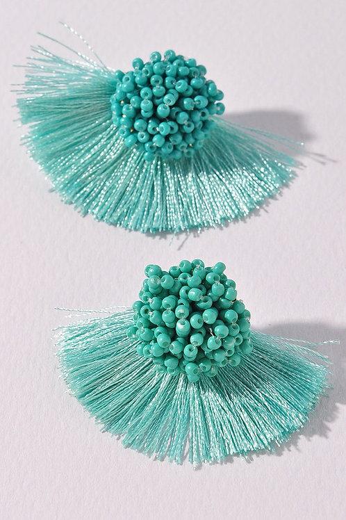 Turquoise Bead Tassel Earrings